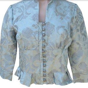 Anthropologie Elevenses silk blend brocade jacket